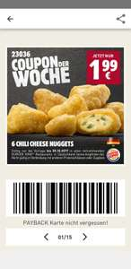 Burger King Chilli Cheese Nuggets 6 stück für 1.99€ anstelle 3.99€