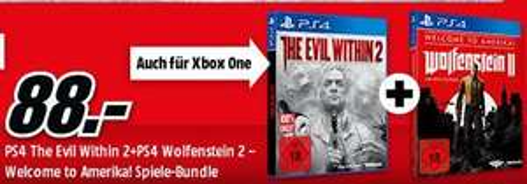 The Evil Within 2 + Wolfenstein II: Welcome to Amerika (PS4 und XB1) für je zusammen 88,-€ [Mediamarkt GDD]