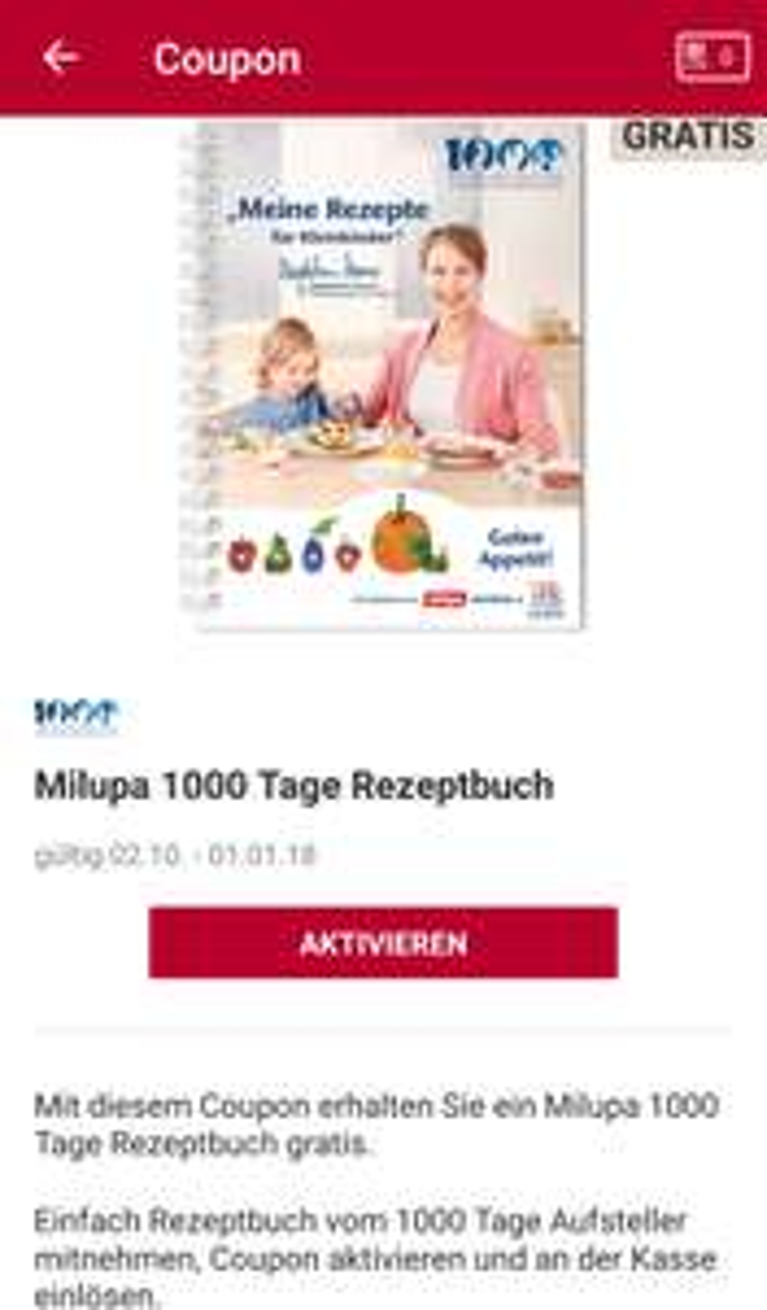 [Rossmann] Milupa 1000 Tage Rezeptbuch gratis