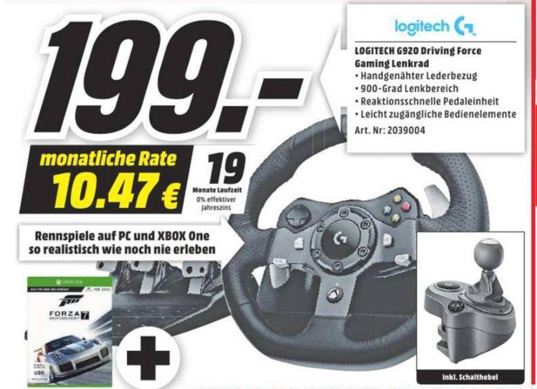 [Loka Mediamarkt Herzogenrath- Nur am 07.10 von 20.00 Uhr bis 22.00 Uhr] Logitech G920 Racing Lenkrad Driving Force inc Schalthebel für Xbox One, PC inc.Forza Motorsport 7 (Xbox One) für 199,-€