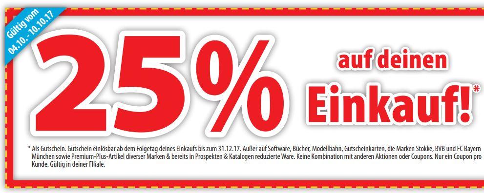 25 % Rabatt auf den kompletten Einkauf bei Spielemax (nur in den Filialen)