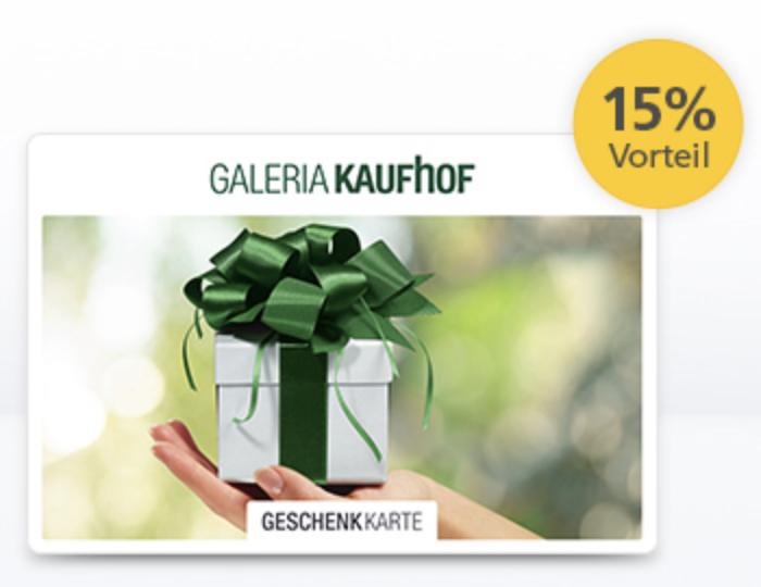 Galeria Kaufhof Gutscheinkarte mit 15% Preisvorteil (Postbank Kunde)