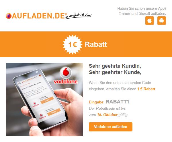 [aufladen.de] 1€ Rabatt auf beliebige Vodafone Aufladung