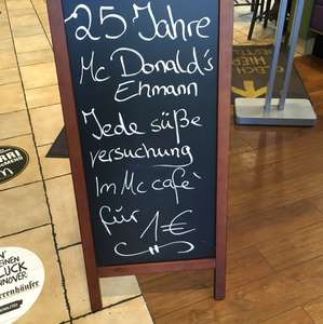 [Lokal] McCafé Süßes 1€ McDonalds Ehmann
