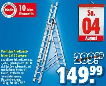 Hailo ProfiStep Aluminium-Kombileiter- 3x10 Sprossen - Praktiker am 4. August (offline)