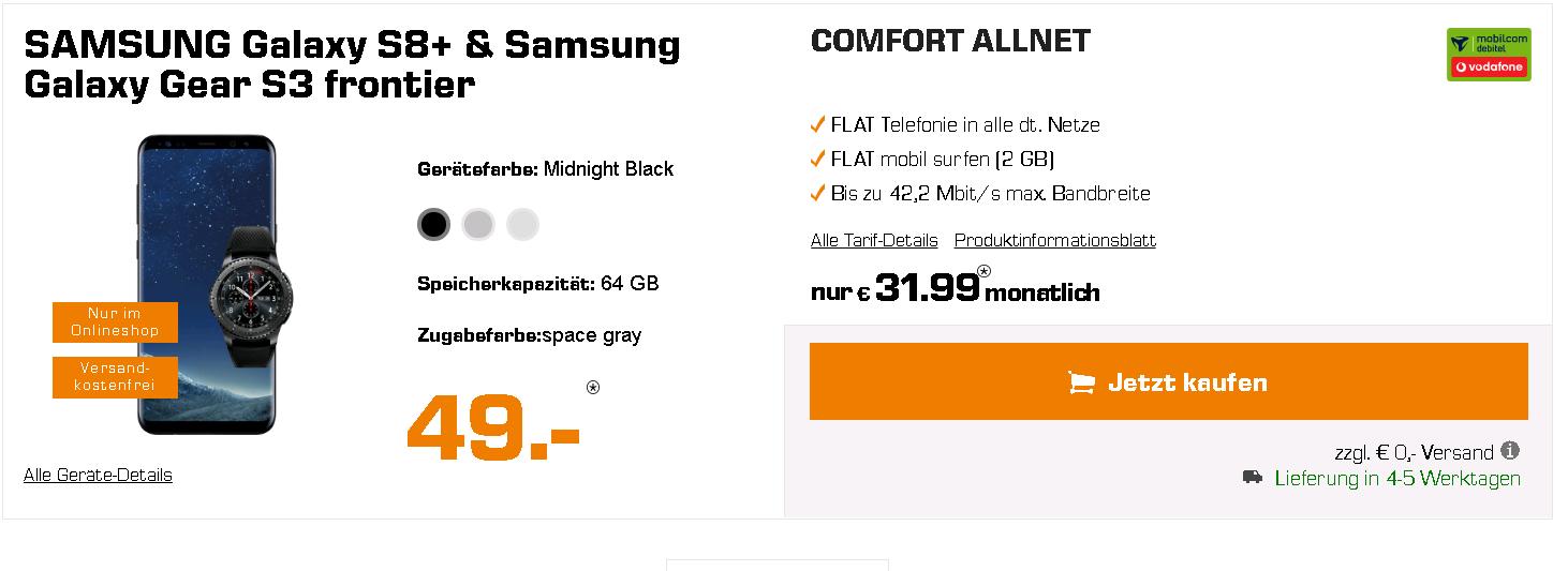 Samsung Galaxy S8 Plus + Vodafone Comfort Allnet (md) eff. kostenlos (Allnet-Flat, 2 GB, Vodafone) – 133 € Ersparnis!