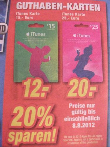 Expert - 20% auf iTunes Guthaben-Karten (15€ / 25€)