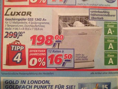 Geschirrspüler für 198 EUR bei Real