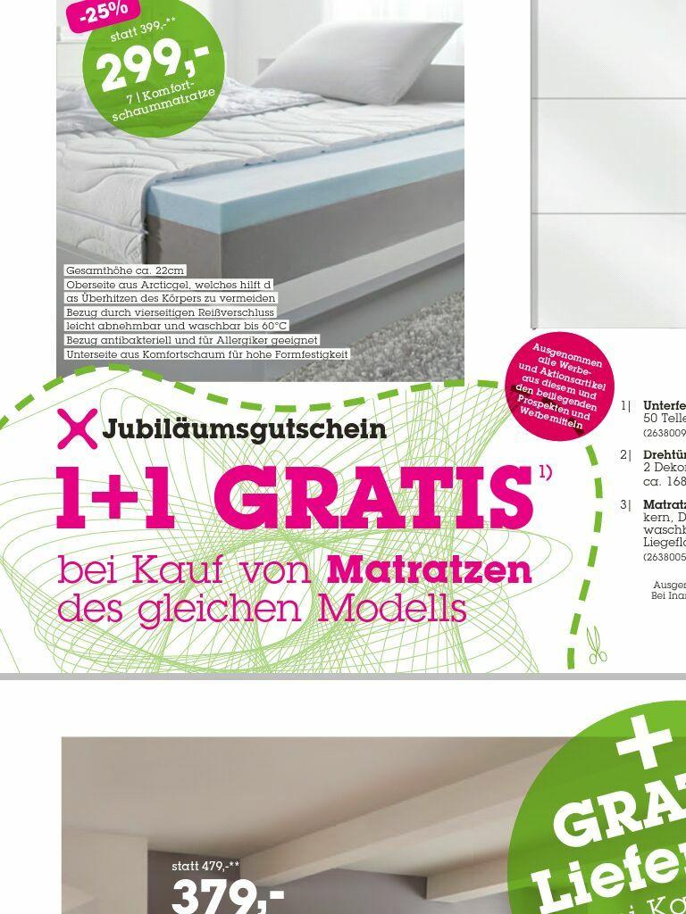 1+1 Matratze gratis bei Mömax (Lokal in der Filiale) bis 7.10.17