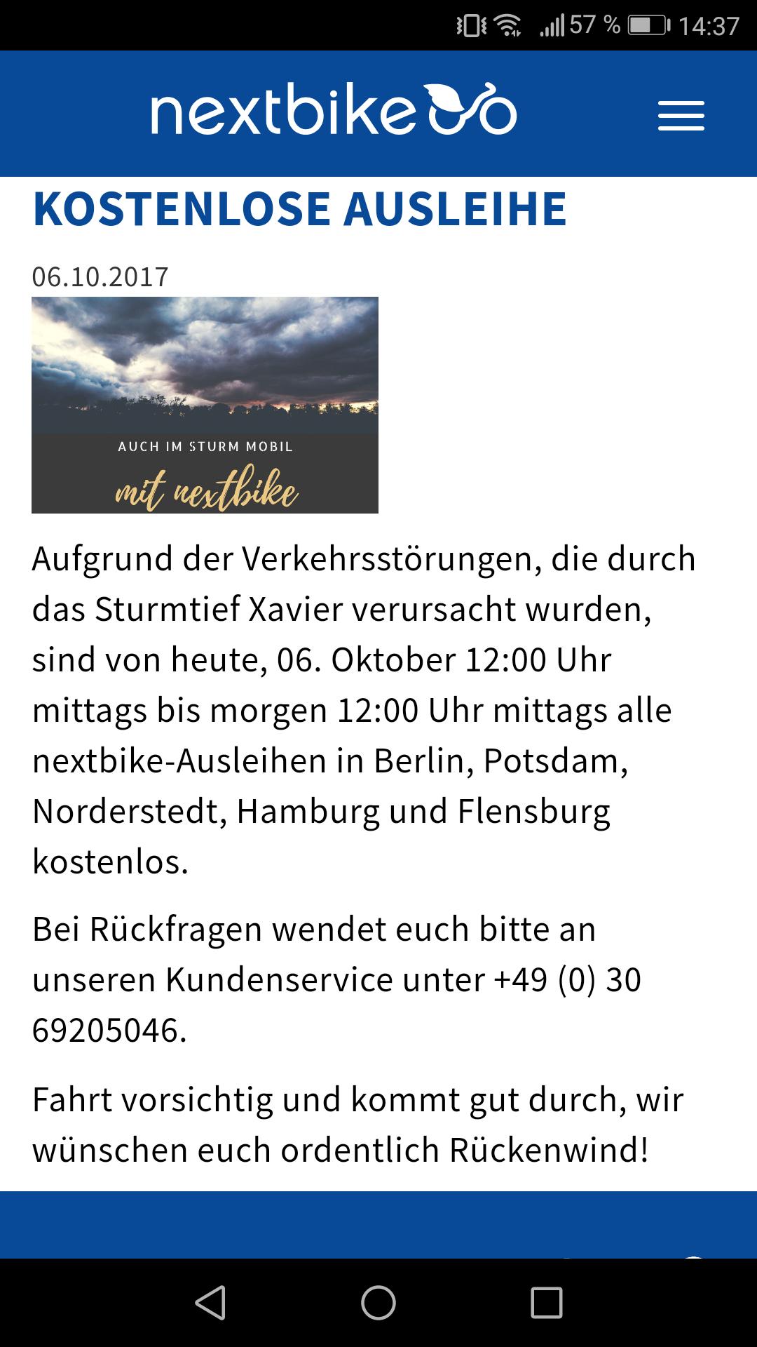 Nextbike kostenlos!!! Lokal: Berlin, Potsdam, Norderstedt, Hamburg und Flensburg