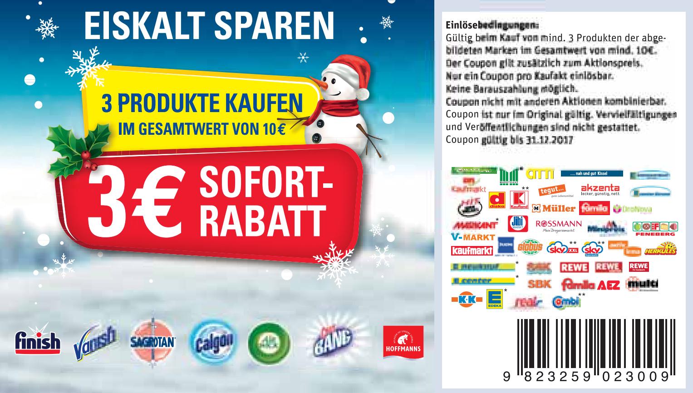[Bundesweit] 3€ ab 10€ AirWick / Calgon / Cilit Bang / Hoffmann's / Finish / Sagrotan / Vanish [31.12.2017]
