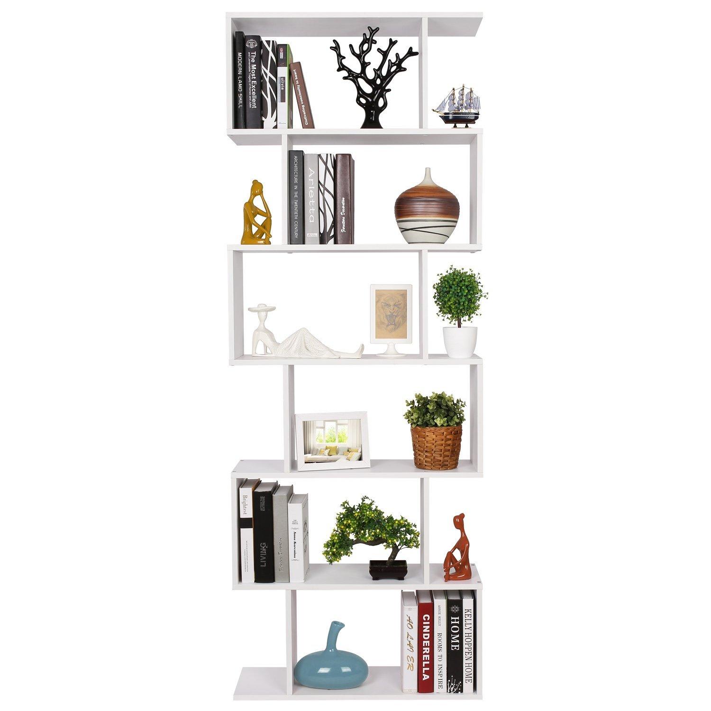 S-Form Bücherregal Raumteiler mit 6 Ablagen 190.5*70*23.5 cm (H x B x T)