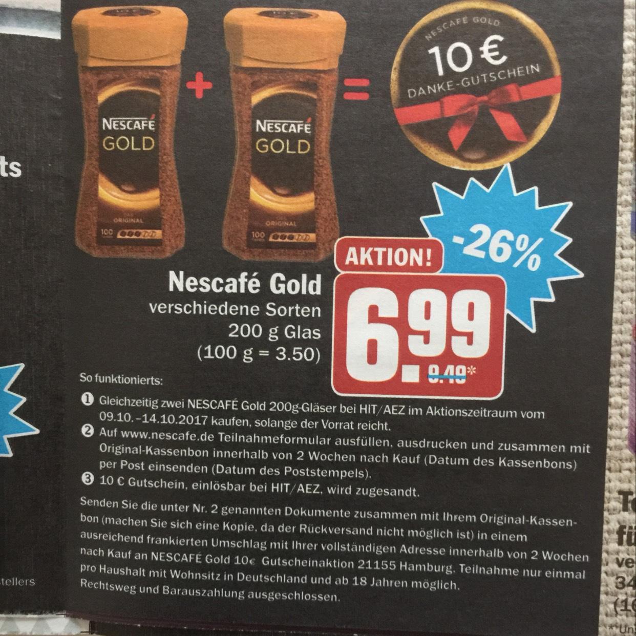 Online und Offline 2 Gläser Nescafe Gold für 13,98.- kaufen und 10 € Einkaufsgutschein sichern