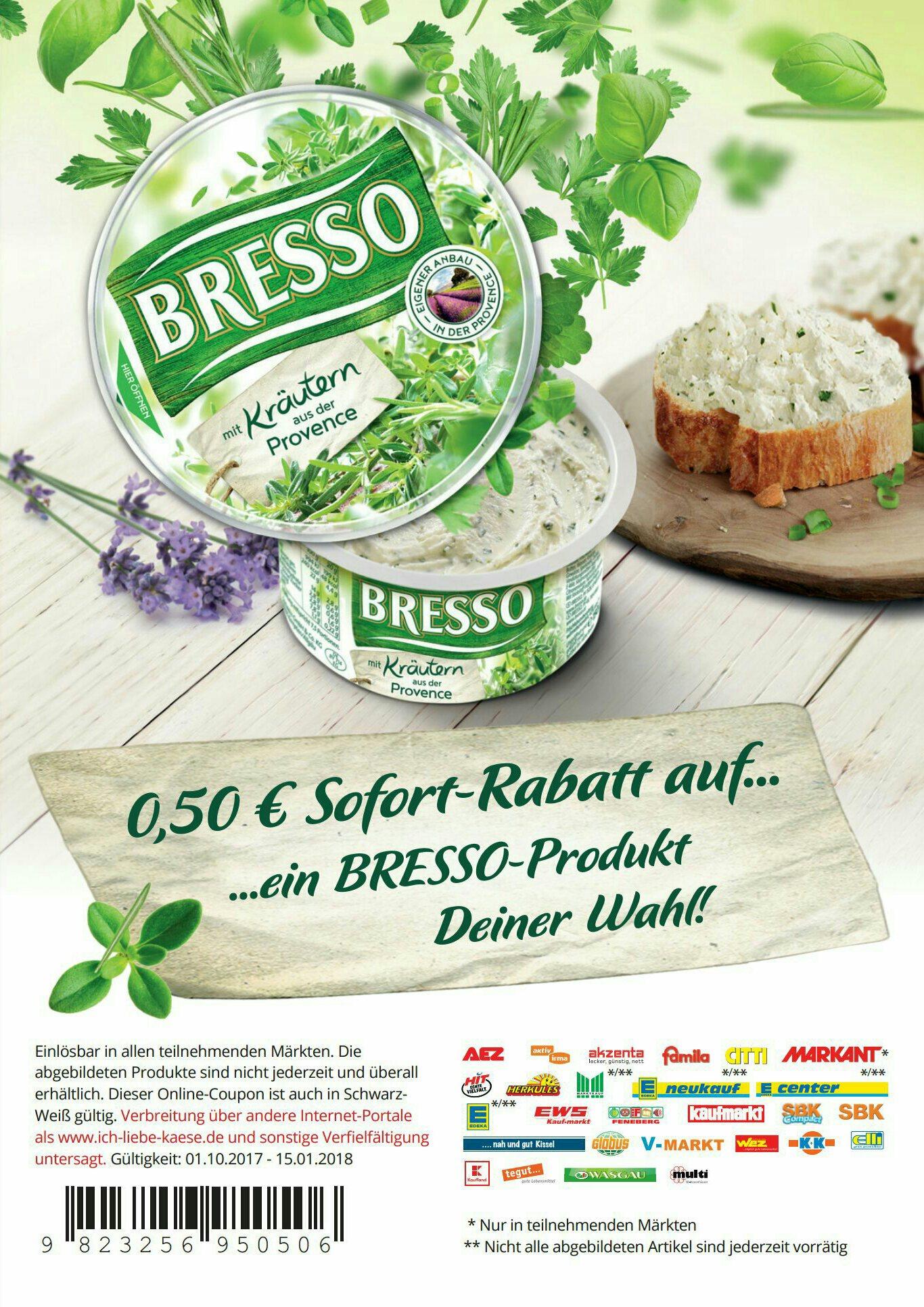 0,50€ Sofort-Rabatt-Coupon auf BRESSO Produkt nach Wahl