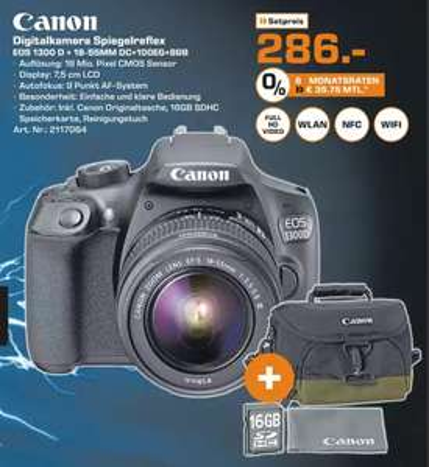 [SATURN Celle - Schocktober] CANON EOS 1300D Kit (EOS 1300D + 18-55mm DC + Canon Tasche 100EG + 8GB für 286€