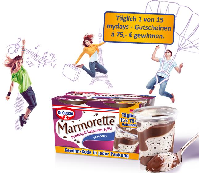 20€ mydays.de Gutscheine mit einem MBW in Höhe von 49€ @ Dr. Oetker Marmorette Aktionspackungen