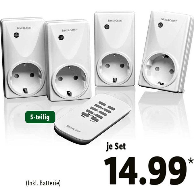 Funksteckdosenset, 5-teilig für nur 14,99€ bei (Lidl)