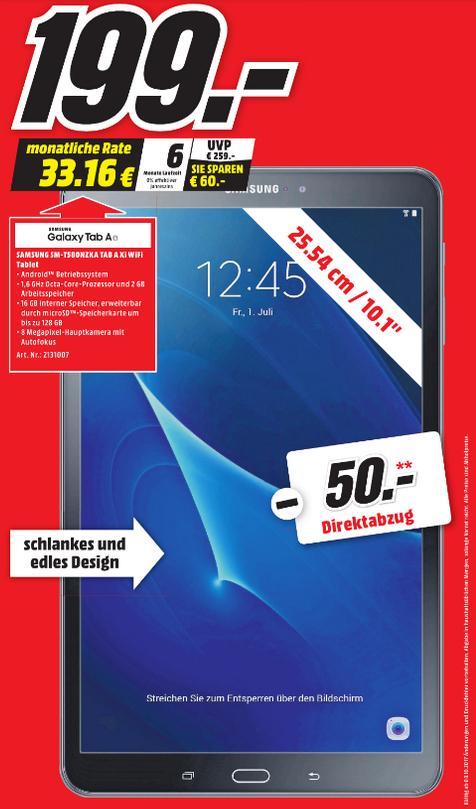 [lokal Stralsund] Samsung Galaxy Tab A 10.1 Wi-Fi (2016) 16 GB für 149,- EUR bei Media Markt durch 50,- EUR Direktabzug an der Kasse!