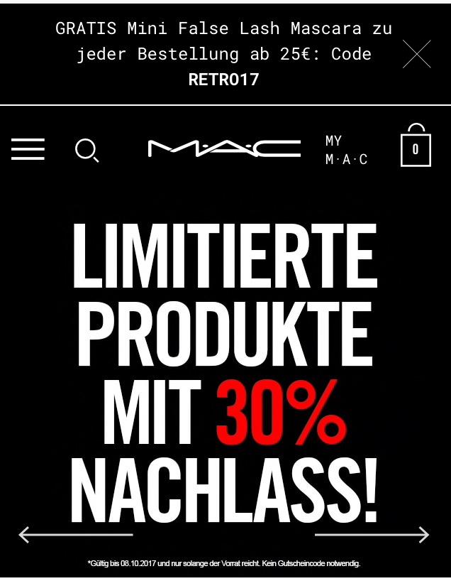 "Heute 30% auf Mac ""Goodbyes"" + Mini Mascara ab 25€"
