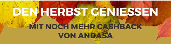 Andasa kostenfreie Kreditkarte: Breaking NEWS Herbst genießen Cashback und Prozente z.B. ticketonline 15 + 10%, Douglas 10 + 8% und andere