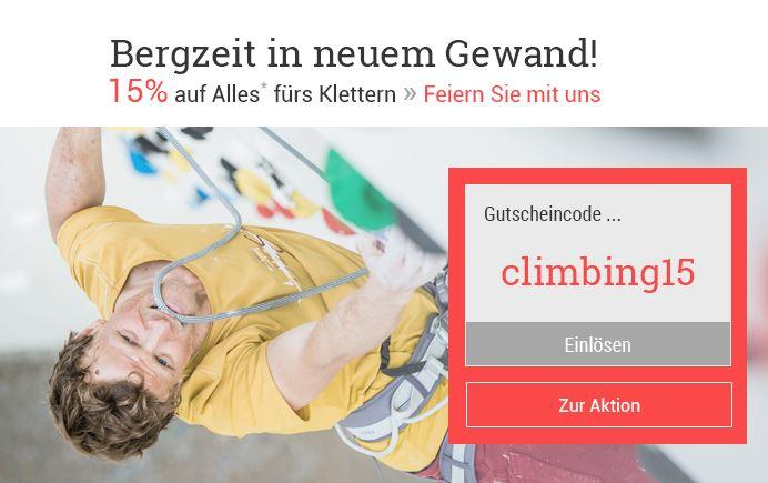 15% Rabatt auf Kletterausrüstung und Bekleidung bei Bergzeit