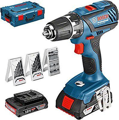 Bosch Professional Akku-Bohrschrauber-Set GSR 18-2-LI Plus, 63-teilig Zubehörset, 2 x 2,0 Ah Akku, Ladegerät, L-Boxx (Max. Drehmoment: 63 Nm, 13 mm-Bohrfutter Spannbereich, max. Schrauben-Ø: 8 mm)