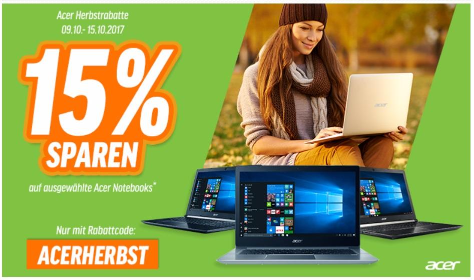 15% Rabatt auf Gaming-Notebooks von Acer bei [NBB] - z.B. Acer Nitro 5 (15,6'' FHD IPS matt, i5-7300HQ, 8GB RAM, 128GB SSD + 1TB HDD, Geforce 1050 Ti, bel. Tastatur, Win 10) für 872,95€