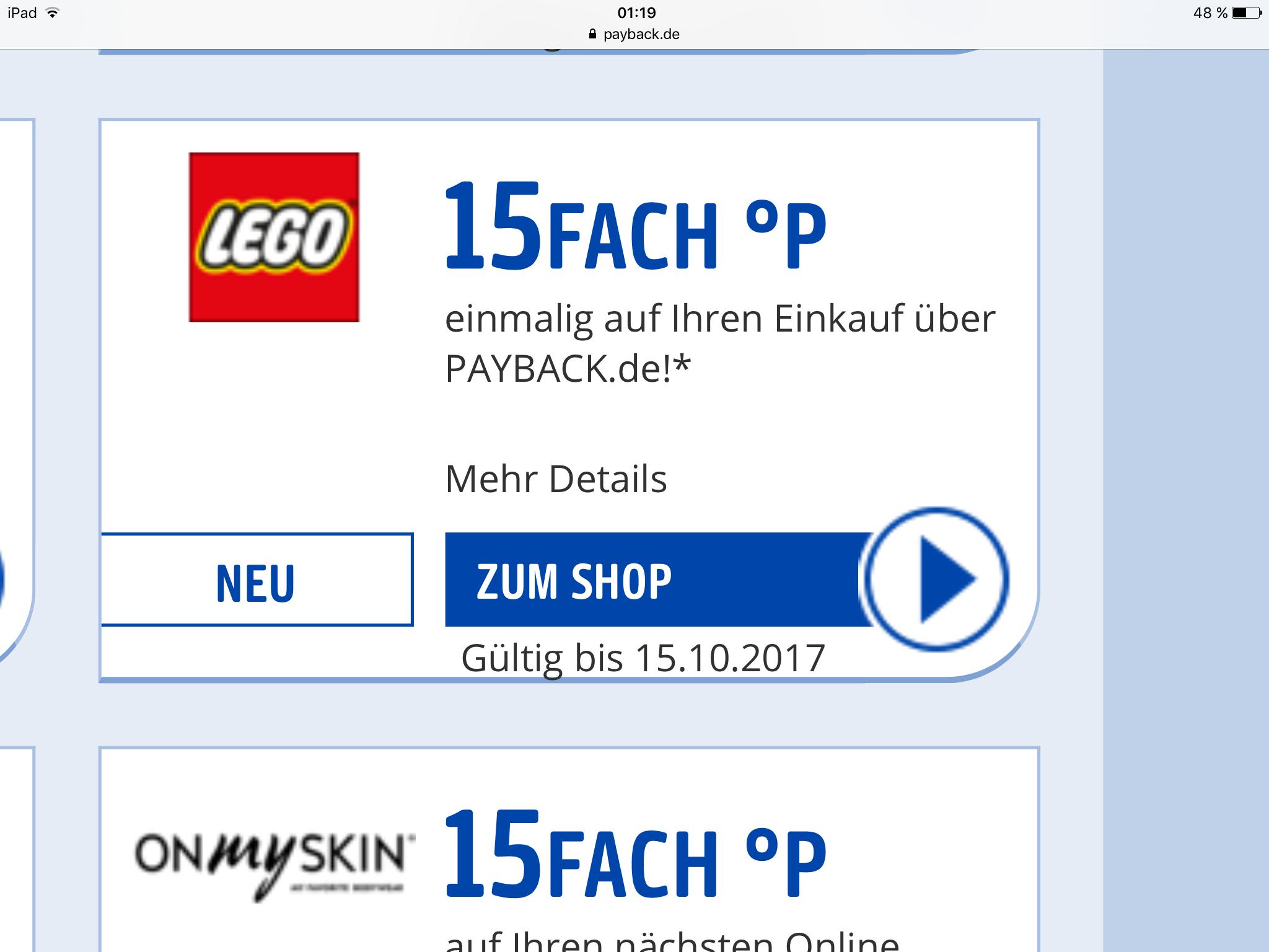 Payback 15fach Punkte bei Lego bis zum 15/22.10