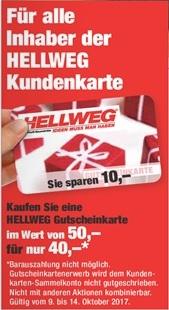 [Hellweg] 50€ Gutscheinkarte für 40€ kaufen - für alle Inhaber der Kundenkarte