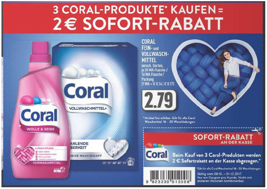 [Edeka] Zwei € Sofortrabatt beim Kauf von drei Coral Produkten OHNE MBW! Gültig bis 31.12.2017