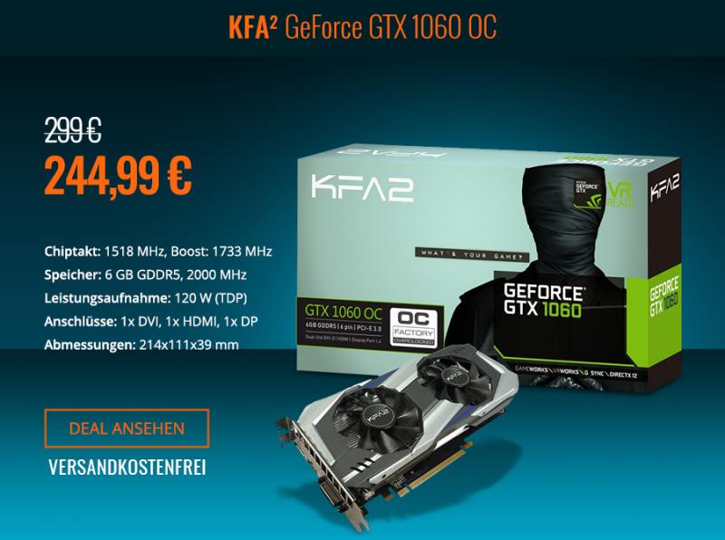KFA² GeForce GTX 1060 OC (6GB) für 244,99€ [One]