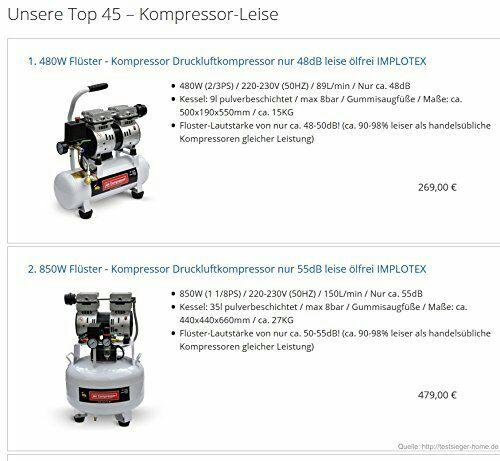Amazon 12%  auf Flüster Druckluftkompressor  von 9- 400 l . 48 - max 65dB