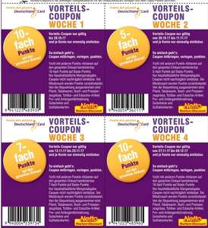 [Deutschlandcard / Netto MD]  2x 10-fach Punkte Coupons zum ausdrucken und weitere