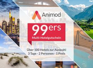Gutschein: Animod 99ers Multigutschein - 3 Tage, 2 Personen inkl. Frühstück - Einlösbar in über 100 Hotels