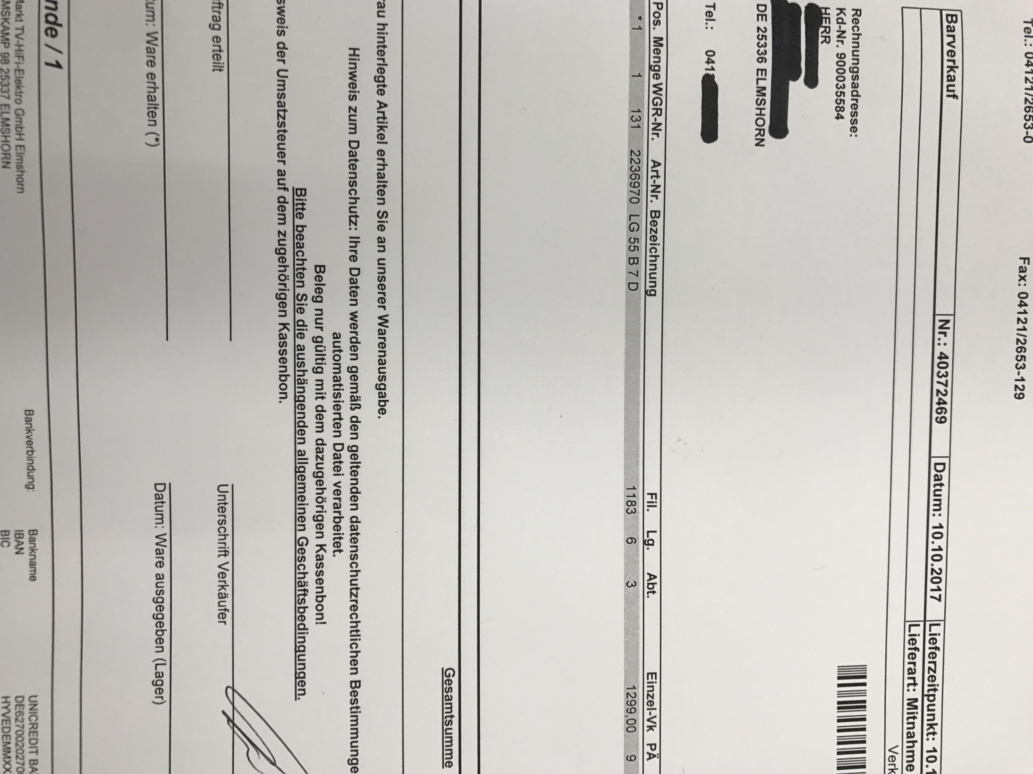 Mediamarkt Elmshorn: LG - OLED - 55 B 7 D - Neu!! OVP!!