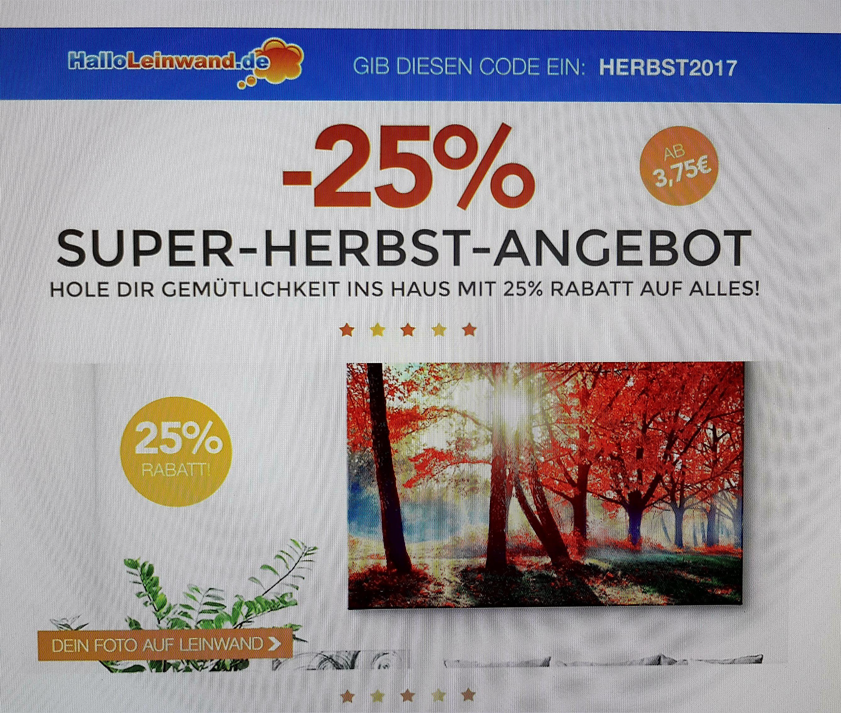 25% Rabatt auf alles bei HalloLeinwand.de