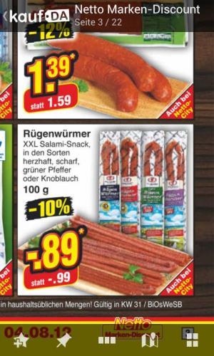 Rügenwürmer (geräucherte Wurstsnacks) bei netto -10%