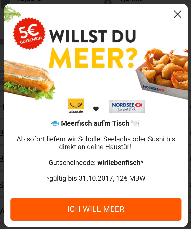 """5€ Rabatt bei der """"Nordsee"""" bei Kauf über Pizza.de"""