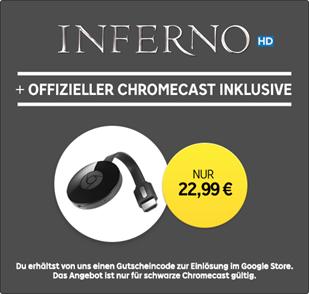 Chromecast 2 + Kauffilm »Inferno« in HD für 22,99€ bei Rakuten TV