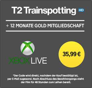 12 Monate Xbox Live Gold + »T2 Trainspotting« (HD-Leihfilm) für 35,99€ bei Rakuten TV