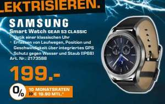 [Lokal Saturn Hamburg/Norderstedt] Samsung Gear S3 classic (3,3 cm (1,3 Zoll) Display, NFC, Bluetooth, Wireless Lan, Tizen OS), mit Echtleder-Armband für 199,-€