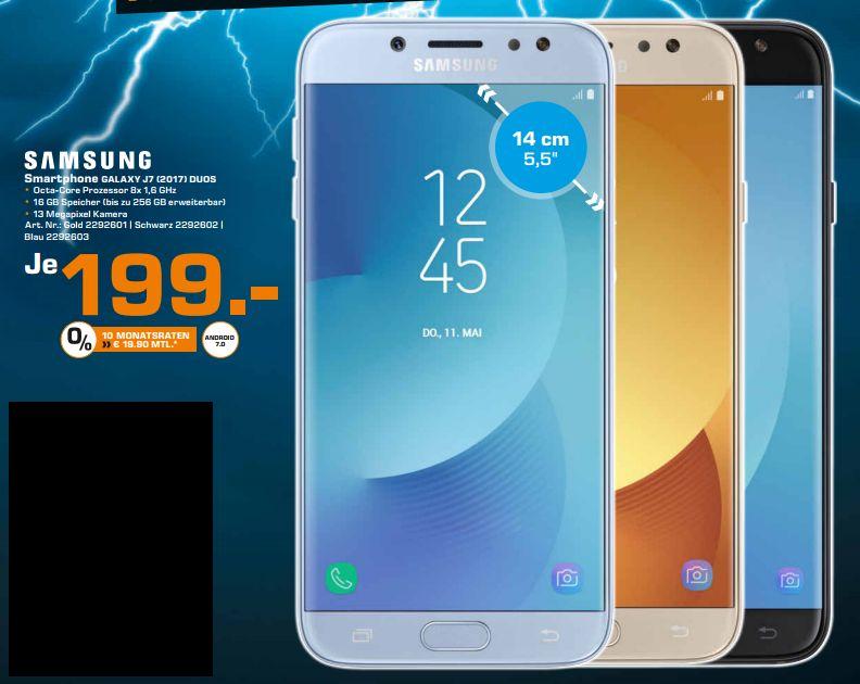 [Lokal Saturn Hamburg / Norderstedt] Samsung Galaxy J7 (2017) Duos LTE-Dual-SIM Smartphone 13.9 cm (5.48 Zoll) 1.6 GHz Octa Core 16 GB 13 Mio. Pixel Android 7.0 Nougat in 3 Farben für je 199,-€
