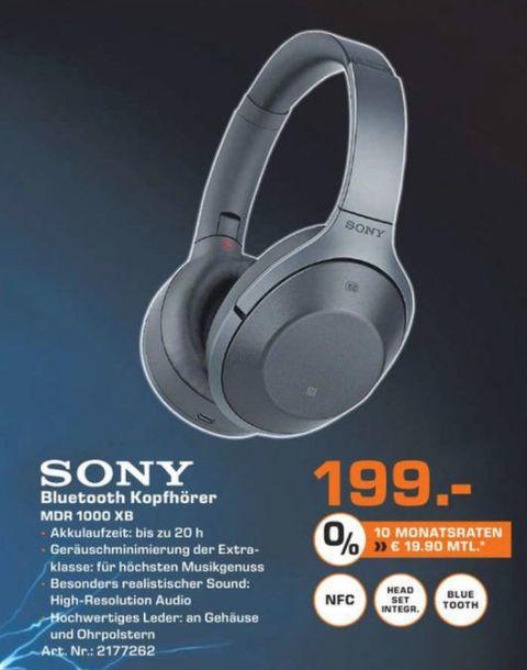 [Lokal Saturn Fürth/Nürnberg/Gelsenkirchen//Mediamarkt Mainz/Alzey/Bischofsheim] Sony MDR-1000X kabelloser High-Resolution Kopfhörer (Noise Cancelling, Sense Engine, NFC, Bluetooth, bis zu 20 Stunden Akkulaufzeit) für 199,-€