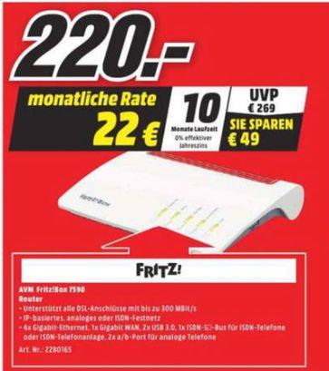 [Lokal Mediamarkt Lübeck] AVM FRITZ!Box 7590 High-End WLAN AC + N Router (VDSL-/ADSL-/ADSL2+, 4x4 MU-MIMO mit 1.733 (5 GHz) + 800 MBit/s (2,4 GHz), bis zu 300 MBit/s für 220,-€