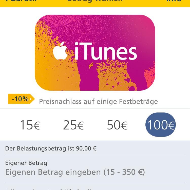 10% Rabatt auf iTunes Gutscheine ab 10.10. im Postbank Internet-Banking und in der App