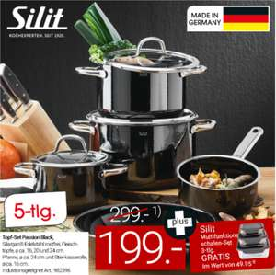 Silit Passion Black 5-teilig inkl. Multifunktionsschalen-Set 3-teilig Storio für 179,10 € und andere diverse Topfsets [Zurbrüggen]