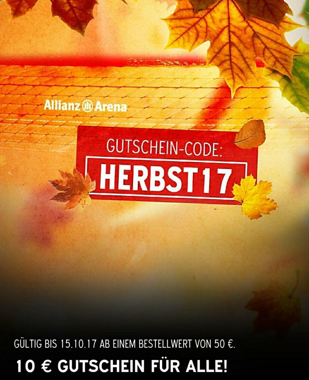 FC Bayern München Fanshop 10 Euro Herbstgutschein