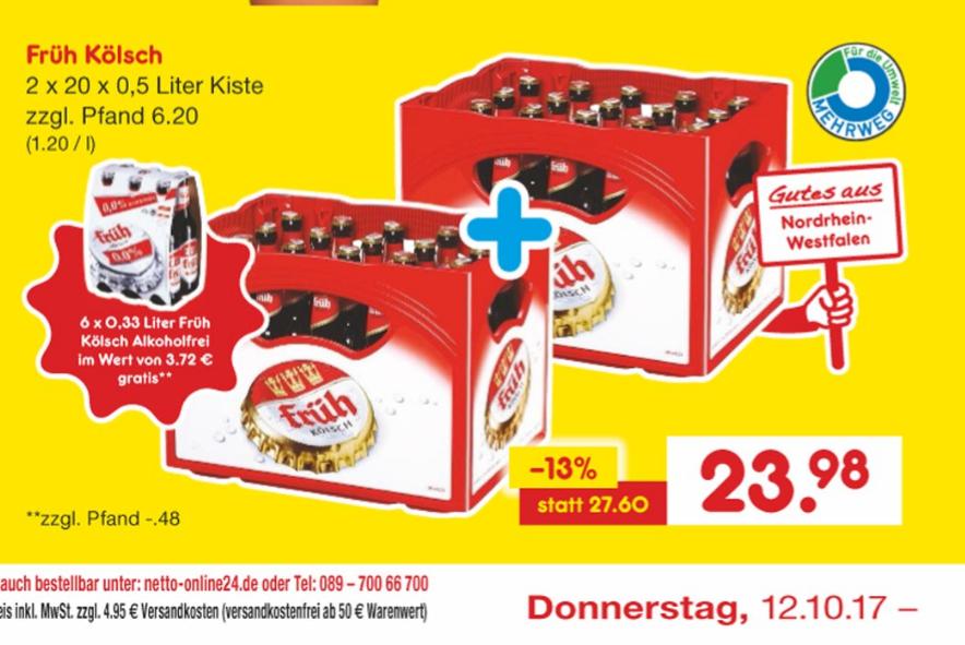 Früh Kölsch 2 Kisten 0,5 l + Sixpack Kölsch