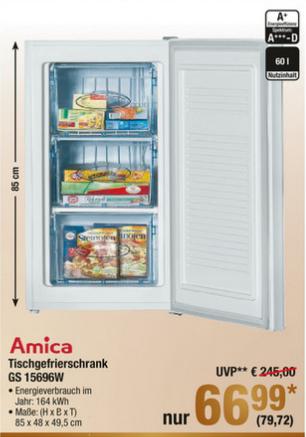[Metro] Gefrierschrank Amica GS 15696 W (Energieklasse A+, 60l Inhalt) für 79,72 € (26.10. - 01.11.)
