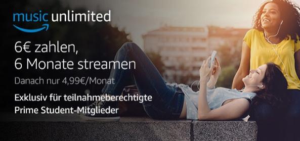 Amazon Prime Student 6 Monate Amazon Music + Bundesliga (1. und 2.) + DFB Pokal für 6 Monate nur 6 €